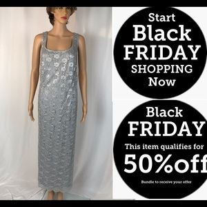 Silver Lace and Sequins Sheath Dress